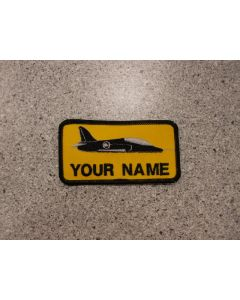 6403 - Hawk Nametag on Yellow Fabric